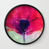 mod Wall Clocks featuring Mod Poppy by V. Sanderson / Chickens in the Trees