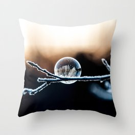 Wintry World in Frozen Bubble Throw Pillow