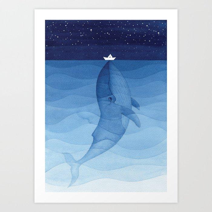 Whale blue ocean Kunstdrucke