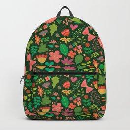 Garden Scatter - Warm Spring Colours on Dark Forest Green (floral pattern) Backpack