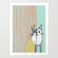 Cubist Cat Study #5 by Friztin Art Print