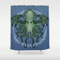 cthulhu Shower Curtains featuring Cthulhu by N.Kachaktano