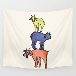 3 Billy Goats Up Wall Tapestry