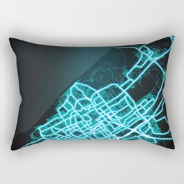 The Hague, Netherlands, Blue, White, Neon, Glow, City, Map Rectangular Pillow