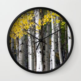 Yellow, Black, and White // Aspen Trees in Crested Butte Wall Clock