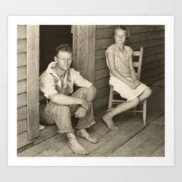Floyd and Lucille Burroughs by Walker Evans Art Print
