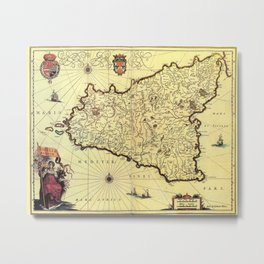 Vintage Map of Sicily Italy (1600s) Metal Print