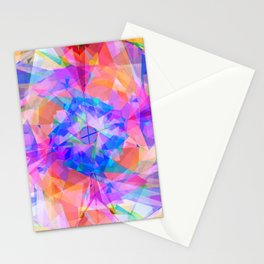 Modern bright pink lavender abstract kaleidoscope pattern Stationery Cards