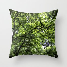Lush Green Canopy in the Cloud Forest of the Chocoyero-El Brujo Nature Reserve in Nicaragua Throw Pillow