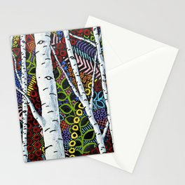 Sunset Sherbert Birch Forest (ORIGINAL ACRYLIC PAINTING) by Mike Kraus - art valentines day girl Stationery Cards