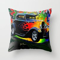 ford Throw Pillows featuring 32 Ford by JT Digital Art
