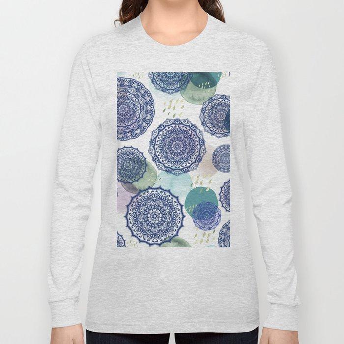Fall Love Mandala in Blue Long Sleeve T-shirt