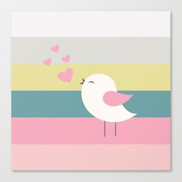 Lovely bird blue stripe Canvas Print