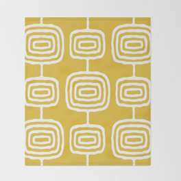 Mid Century Modern Atomic Rings Pattern 771 Mustard Yellow Throw Blanket