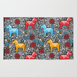 Dalecarlian Dala horse traditional wooden horse statuette originating in Swedish province Dalarna Rug