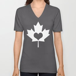 Canada Day Maple and Heart Unisex V-Neck