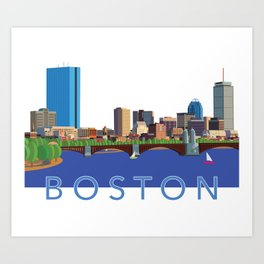 Back Bay Boston Skyline Art Print