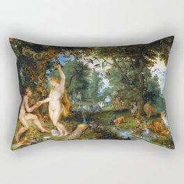 """Jan Brueghel the Elder, Peter Paul Rubens """"The Garden of Eden with the Fall of Man"""" 1615 Rectangular Pillow"""