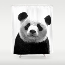 Black and white panda portrait Shower Curtain