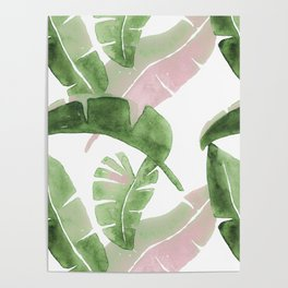Tropical Leaves Green And Pink Poster