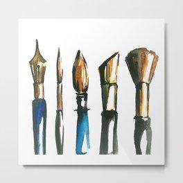 watercolor paint brush illustration !! Metal Print