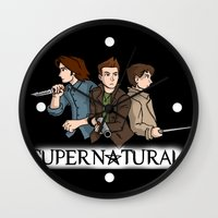 supernatural Wall Clocks featuring Supernatural by KewlZidane