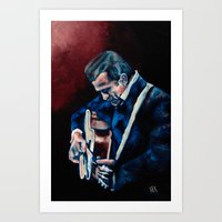 johnny cash Art Prints featuring Johnny Cash by Nicole Kallenberg