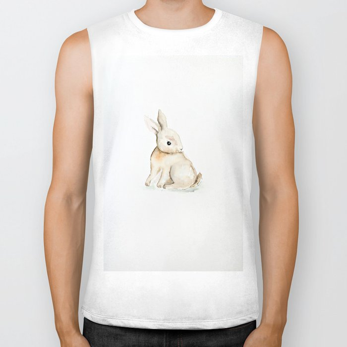 Easter bunny watercolor Biker Tank
