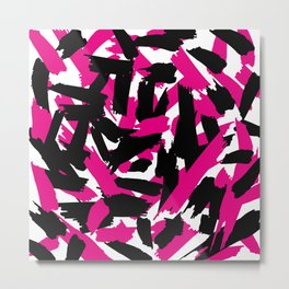 Vibrant Pink Black Brushstroke Pattern Metal Print