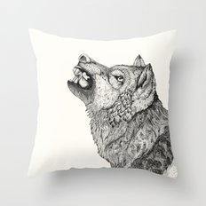 Wolf // Graphite Throw Pillow
