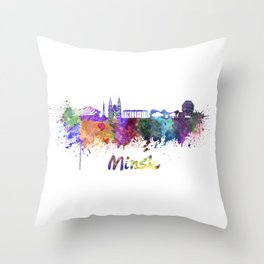 Minsk skyline in watercolor Throw Pillow