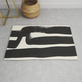 Mid Century Modern Minimalist Abstract Art Brush Strokes Black & White Ink Art Ancient Stripes Rug