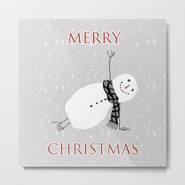 Snowman Yoga - Side Planck Metal Print