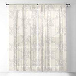 Snowflake foliage cream beige Sheer Curtain