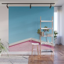 Pink House Roofline with Palm Trees (Palm Springs) Wall Mural