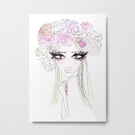 Floral girl Portrait Metal Print
