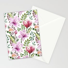 Watercolor hand-painted floral spring seamless pattern Stationery Cards