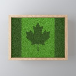 Grass flag Canada / 3D render of Canadian flag grown from grass Framed Mini Art Print