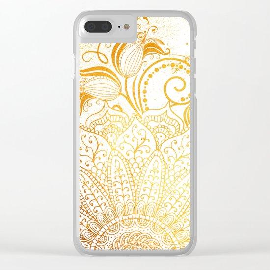 Mandala - Golden brush Clear iPhone Case