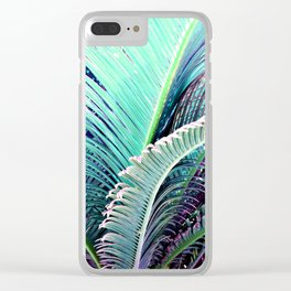 Palms (Teal and purple) Clear iPhone Case
