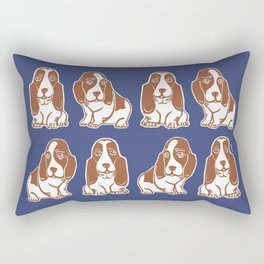 Basset Hounds Pattern in Navy and Brown Rectangular Pillow