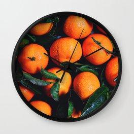 Tropical Poncan Oranges Wall Clock