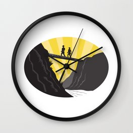 Trampers Log Bridge Ravine River Oval Woodcut Wall Clock