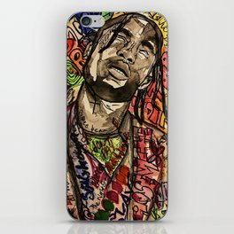 La flame,travis,music,hiphop,poster,astro world,tour,wall art,artwork,painting,colourful iPhone Skin