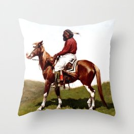 """Western Art """"Comanche Brave"""" by Frederic Remington Throw Pillow"""