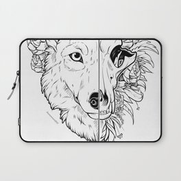 Wolf and Flowers Laptop Sleeve