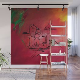 Music, Drummer, Drums, Orignal Artwork By Jodi Tomer. Rock and Roll Drums Wall Mural