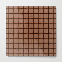 Geometric raster minimal raw brush strokes grid pattern copper Metal Print