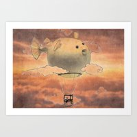 gorillaz Art Prints featuring Panda fliying in a Blow fish 2 by Barruf
