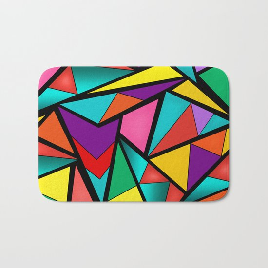 Abstract bright multicolored geometric pattern . 4 . Bath Mat